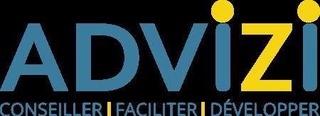 Advizi - La photo représente le logo d'ADVIZI. il y a en pied de logo les trois mots : conseiller - faciliter - développer